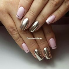 Mirror covering of nails of many unusual manicure images Hot Nails, Pink Nails, Hair And Nails, Nagellack Trends, Metallic Nails, Silver Nails, Chrome Nails, Nagel Gel, Beautiful Nail Designs