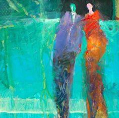 aquarium date ~ Robert Burridge Oil Painting Abstract, Artist Painting, Figure Painting, Figure Drawing, Expressive Art, Painting People, Impressionist Paintings, Artist Gallery, People Art