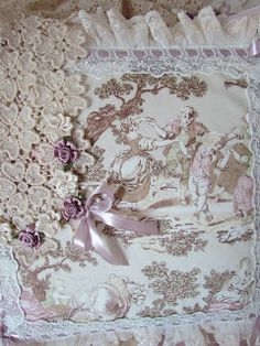 Angela Lace beautiful toile fabric with lace embellishments.