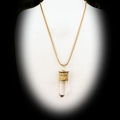 Gold Capped Quartz Crystal Pendant on Long Gold Snake Chain
