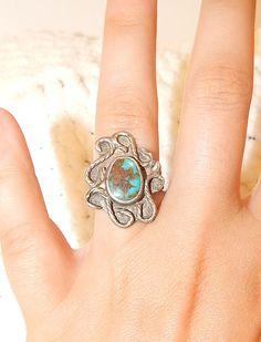 Silver and turquoise ring / vintage jewelry by UpYourAlleyAntiques, $25.00