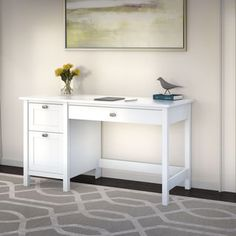 Broadview Single Pedestal Desk in Pure White - Bush Furniture traditional look with contemporary flair. Bring style into the home office with the Bush Furniture Broadview Computer Desk with 2 Drawer Pedestal. Pull out a large drawer with flip Computer Desk With Shelves, Desk Shelves, Computer Tables, Open Shelves, Office Furniture Stores, Furniture Deals, Furniture Outlet, Online Furniture, Quality Furniture