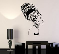 Vinyl Wall Decal Beautiful Black Girl Ethnic Décor Africa African Woman Stickers (701ig)