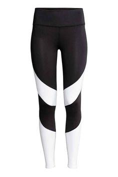 Спортивные лосины - Черный/Белый - Женщины | H&M RU