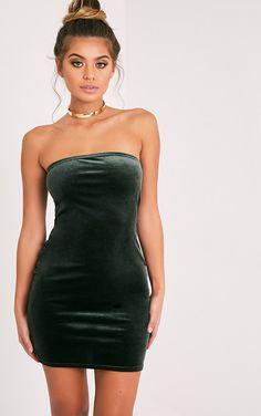 Shany Khaki Velvet Bandeau Bodycon Dress | Dresses | PrettyLittleThing