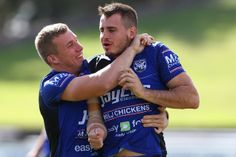 Trent Hodkinson and Josh Reynolds - Canterbury Bulldogs Training Session