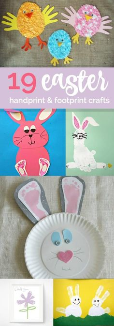 19 easter hand & foot print crafts - spaceships and laser beams Bunny Crafts, Easter Crafts For Kids, Easter Decor, Crafts For Teens To Make, Diy And Crafts, Easter Activities, Childcare Activities, Preschool Ideas, Craft Ideas