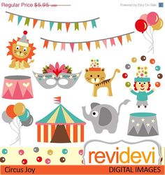 HALF PRICE SALE Clipart Circus Joy 07392.. Commercial use for personalized party printable, web design, banner, printed birthday invites