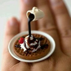 Kawaii Japanese Miniature Food Floating Ring - Waffle with Whipped Cream and Chocolate, fingerfooddelight, etsy - too cute! Cute Polymer Clay, Cute Clay, Polymer Clay Miniatures, Polymer Clay Charms, Miniature Crafts, Miniature Food, Crea Fimo, Mini Craft, Doll Food