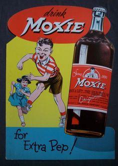 Fantastic! vintage MOXIE soda pop advertising original unused store display sign