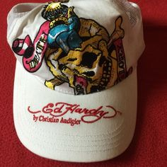 Ed Hardy baseball cap Cute never worn white with colorful design Ed Hardy cap by Christian Audiger Ed Hardy Accessories