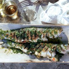 Grilled Branzino With Cilantro-Mint Relish