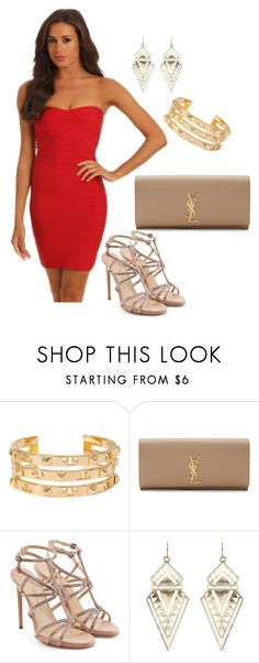 """""""Girls night out outfit"""" by noodzboutique ❤ liked on Polyvore featuring Tory Burch, Yves Saint Laurent, Paul Andrew and Charlotte Russe"""