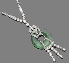 A jade and diamond pendant necklace, circa 1920  The pear-shaped, old brilliant and marquise-cut diamond surmount, suspending a circular jade hololith with applied old brilliant, single and trapeze-cut diamonds, suspending a fringe of baguette, marquise and old brilliant-cut diamonds, to a paper-link backchain, diamonds approx. 2.65cts total, jade untested, lengths: pendant 6.0cm, chain 50.5cm [Cross posted from Jade and Jadeite]
