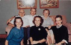 The Bruner Family: Front Row: Berneice, Patricia and Harriet. Back Row: Harold Foster, Harold Carson and Gertrude.