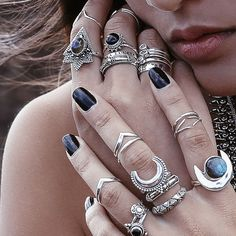 ❋✿ Shop the brand new Warrior collection at www.shopdixi.com / bohemian / jewellery / jewelry / boho / labradorite / moon / cresent moon / midi rings / sterling silver