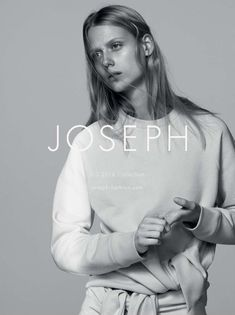 Sofie Hemmet poses in sweater from Joseph's spring 2016 collection