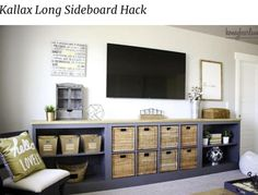 Kitchen Living Room See 20 of the best Ikea Kallax Hacks ideas and the different ways you can DIY them for your home. The Ikea Kallax is the perfect storage solution for the living room, it makes great tv stands! - See The Best Ikea Kallax Hacks Loft Storage, Storage Hacks, Cube Storage, Storage Solutions, Diy Storage, Tv Stand Storage, Playroom Storage, Ikea Storage Units, Ikea Playroom