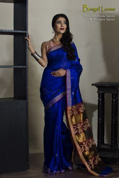 Handloom Khadi Motka Silk Saree with Resham Anchal in Midnight blue and maroon color combination.