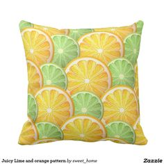 Juicy Lime and orange pattern Throw Pillow  #Home #decor #Room #accessories #Interior #decorating #Idea #Styles #fruit #food #sweet #tasty #design #citrus