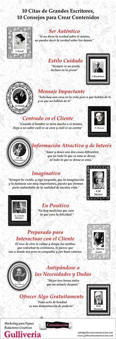 10 citas de escritores para crear contenidos #infografia #infographic #citas #quotes