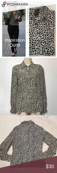 """Dana B. and Karen 100% Silk Animal Print Blouse This beautiful blouse has delicate snaps as closure for down the front and at the wrists, see photo. It measures approx. 18"""" from armpit to armpit, and is approx. 24"""" in length.  This top also features darts in the front and back to give a more fitted appearance. dana b. and karen Tops Blouses"""