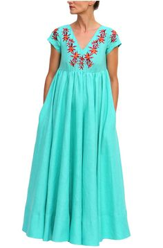 4ba01a8661f Machan Turquoise BLue Embroidered Long Linen Dress. Fanm Mon