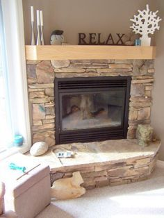 Stone corner fireplace idea