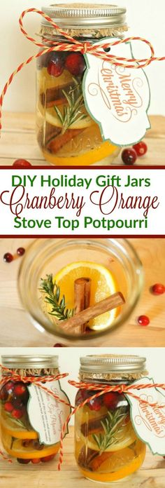 DIY Holiday Gift Mason Jars - How To Make Cranberry Orange Stove Top Potpourri (How To Make A Wrap Top)
