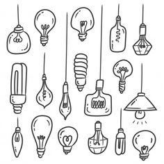 Set Of Light Bulb Doodles Isolated On White - lightbulbs - Set of light bulb doodles isolated on white Vector Easy Doodles Drawings, Mini Drawings, Cute Easy Drawings, Simple Doodles, Bullet Journal Lettering Ideas, Bullet Journal Aesthetic, Bullet Journal Writing, Cute Doodle Art, Doodle Art Drawing