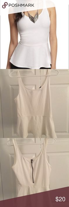 EXPRESS: White Peplum Tank These tips are perfect for going out! I love them but sadly they no longer fit :( NEVER WORN! Size medium. Express Tops Tank Tops
