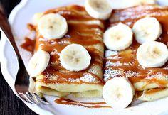 Hanukkah Morning Breakfast Idea: Salted Caramel Banana Blintzes | #hanukkah #chanukkah #food #dessert #holiday
