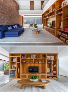 In this living room a large wooden shelving unit fills the space perfectly, and on the opposite wall, bricks have been used as a feature wall behind the sofa. Feature Wall Living Room, Living Room Shelves, Living Room Sofa, Apartment Living, Living Rooms, Wooden Shelving Units, Wooden Living Room Furniture, Tiger Home, Two Storey House