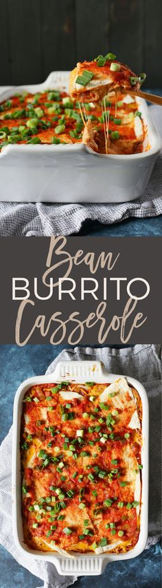 This bean burrito casserole is the perfect weeknight vegetarian freezer meal. Pull the casserole dish out of the freezer and defrost it during the day. Pop it in the oven after work and have dinner on the table in just 30 minutes! | honeyandbirch.com | make ahead | easy | cheap | best | delicious | on a budget | recipes | recipe | family | ideas | quick | vegan | weeknight | casseroles
