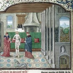 """Patient and physicians""  Bartholomaeus Anglicus, translated by Jean Corbechon, De proprietatibus rerum in French (Livre des proprietez des choses)   Netherlands, S. (Bruges); 1482   British Library - Royal 15 E II"