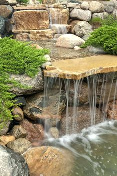Image result for ideas for pond waterfalls
