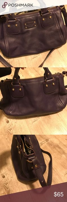 Kate Spade purse Purple soft leather Kate Spade purse. Top handle and shoulder strap. Last 2 pics show wear and tear. Minor discoloration on top handles. Otherwise good condition. kate spade Bags Shoulder Bags