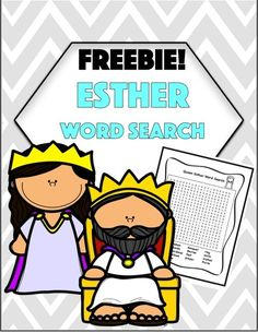 Esther Word Search Cover Queen Esther Bible, Book Of Esther, Silly Sentences, Christian Preschool, Christian Missionary, Bible Words, Free Bible, Sunday School Lessons, Alphabet Activities