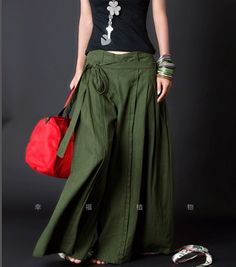 Green women Pants wide leg pants fashion skirt pants Linen pants