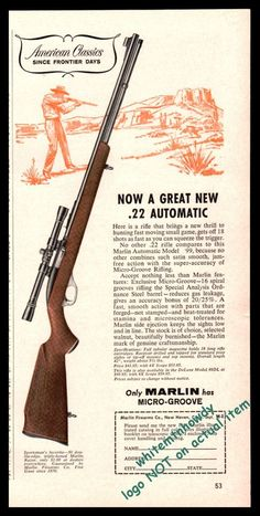 1961 MARLIN Model 99 Automatic .22 Rifle PRINT AD Old Gun Advertising