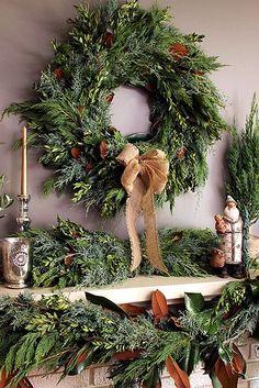 beautiful wreath and greenery- love fresh greens at Christmas