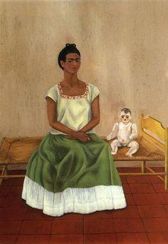 Me and My Doll, 1937 by Frida Kahlo. Naïve Art (Primitivism). self-portrait. Collection of Jacques & Natasha Gelman Mexico City, Mexico