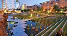 Tanner Springs Park in Portland. Part wetland, part art installation, this urban park reflects the history of the old Tanner Creek. Urban Landscape, Landscape Design, Oregon Landscape, Poket Park, Urban Park, Best Places To Live, Environmental Design, Urban Planning, Modern Buildings