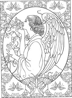 beautiful angel coloring page adult colouringfairiesangels pinterest angel adult coloring and coloring books - Coloring Pages Beautiful Angels