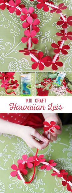 DIY Hawaiian Lei Kid Craft. I'm thinking Halloween costumes!