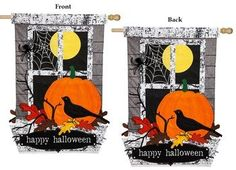 Applique Happy Halloween 2 Sided Seasonal House Flag