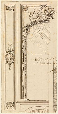 File:Gilles-Marie Oppenord - Design for Overmantel; recto, Plans of Moldings - Google Art Project