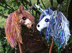 Magical Unicorns hand felted hobby horse stick horse cheval Steiner Waldorf doll gift wool silk felt mohair alpaca pink purple natural child toy www.etsy.com/shop/masajesaf