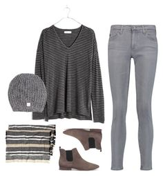 """Tuesday. Simple. Grey. OOTD 12.13.2016"" by jcrewchick on Polyvore featuring AG Adriano Goldschmied and Madewell"