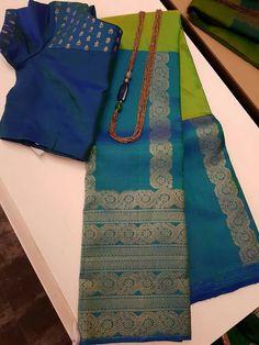 Green kanchi cotton sari with ganga jamuna long border Silk Saree Blouse Designs, Saree Blouse Patterns, Designer Blouse Patterns, South Silk Sarees, Pure Silk Sarees, Cotton Saree, Silk Saree Kanchipuram, Dhoti Saree, Salwar Kameez